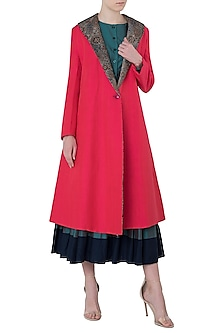 Red Reversible Trench Coat by Kritika Universe