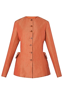 Coral and Orange Prism Cut Jacket by Kritika Universe