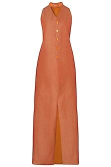 Orange Embroidered High Neck Jacket by Kritika Universe