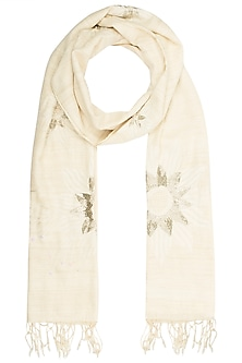 Off White Sunflower Motif Scarf by Kritika Universe