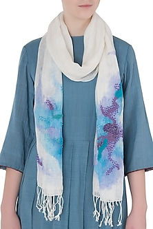Ivory Mesh Woven Floral Embroidered Scarf by Kritika Universe