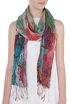 Dual Colored Mesh Woven Floral Embroidered Scarf by Kritika Universe