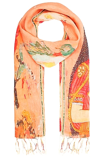 Orange Mesh Woven Floral Embroidered Scarf by Kritika Universe