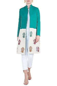 Green colour blocked embroidered jacket by KRITIKA UNIVERSE