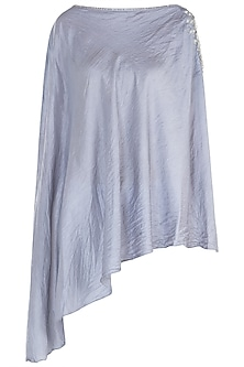 Grey embroidered cold shoulder cape by KRITIKA UNIVERSE