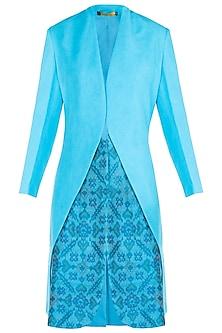 Blue classic ikat trench jacket by KRITIKA UNIVERSE