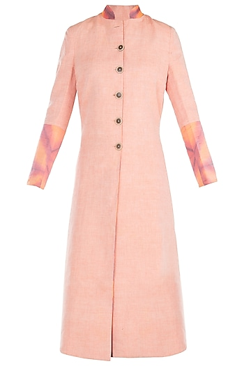 Peach reversible tie dye jacket by KRITIKA UNIVERSE