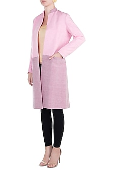 Pink block printed jacket by KRITIKA UNIVERSE