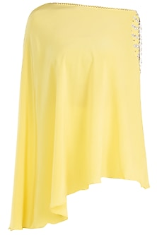 Yellow embroidered cold shoulder cape by KRITIKA UNIVERSE