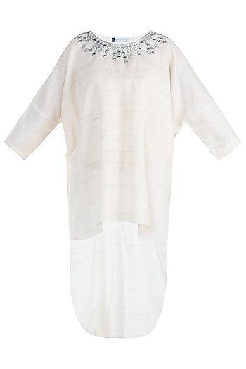 White indo fusion embroidered tunic by KRITIKA UNIVERSE