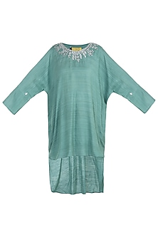 Green indo fusion embroidered tunic by KRITIKA UNIVERSE