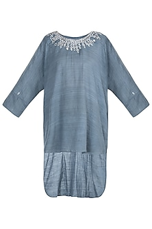Grey indo fusion embroidered tunic by KRITIKA UNIVERSE