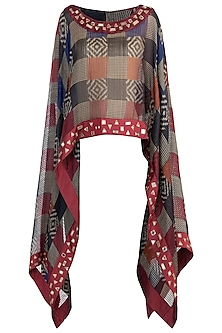 Black and maroon sheer embroidered ikat cape by KRITIKA UNIVERSE