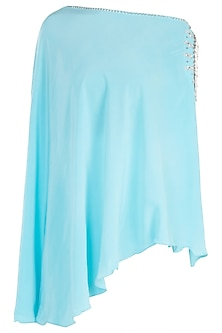 Bright blue embroidered cold shoulder cape by KRITIKA UNIVERSE