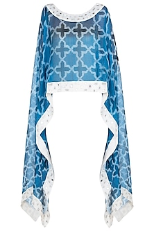 Blue and white sheer embroidered ikat cape by KRITIKA UNIVERSE