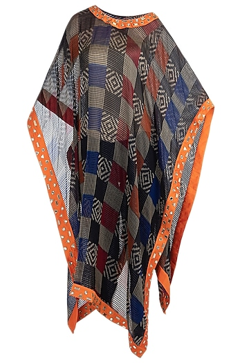 Black sheer embroidered ikat cape by KRITIKA UNIVERSE