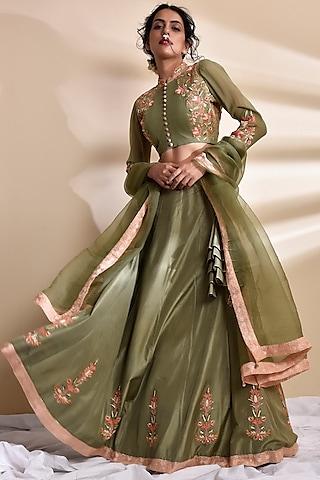 Olive Green Lehenga Set by Kanika sharma