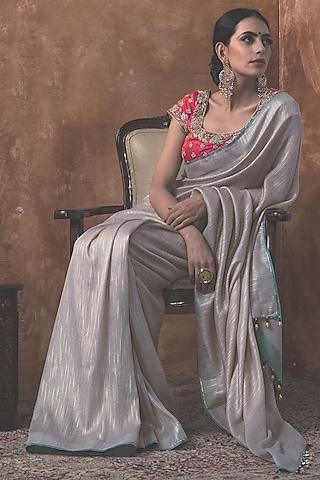 Steel Grey Saree Set by Kanika Sharma