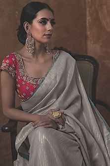 Steel Grey Saree Set by Kanika Sharma