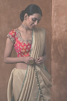 Gold Silk Saree Set by Kanika Sharma