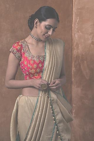 Gold Silk Saree Set by Kanika Sharma