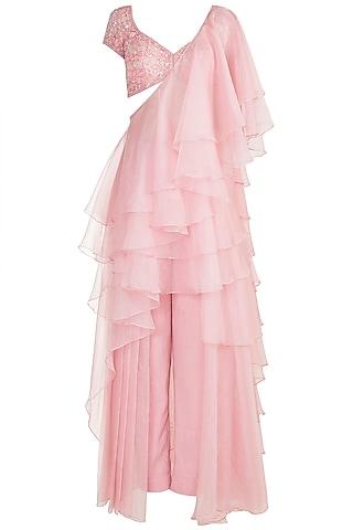 Galaxy Pink Embellished Pleated Pant Saree Set by Kehiaa by Kashmiraa