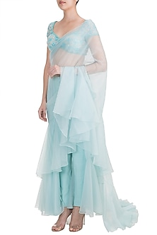 Frost Blue Embellished Pleated Pant Saree Set by Kehiaa by Kashmiraa