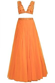 Fire Orange Embroidered Lehenga Set by Kehiaa by Kashmiraa