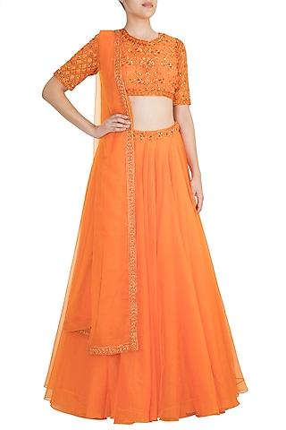 Fire Orange Embroidered Flared Lehenga Set by Kehiaa by Kashmiraa