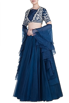 Navy Blue Embroidered Lehenga Set by Kehiaa by Kashmiraa