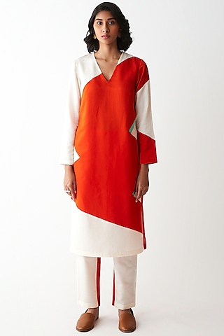 Ivory & Orange Kurta Set by Kshitij Jalori