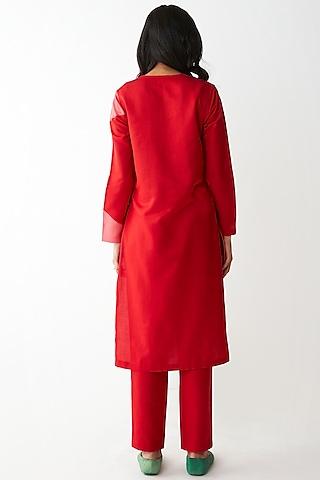 Red & Pink Kurta Set by Kshitij Jalori