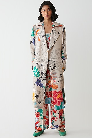 Ivory Floral Printed Jacket by Kshitij Jalori