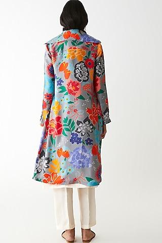 Grey Floral Printed Jacket by Kshitij Jalori