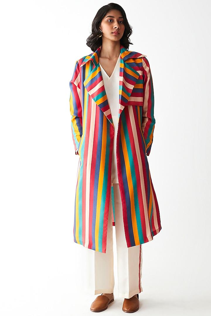Multi Colored Printed & Striped Jacket by Kshitij Jalori