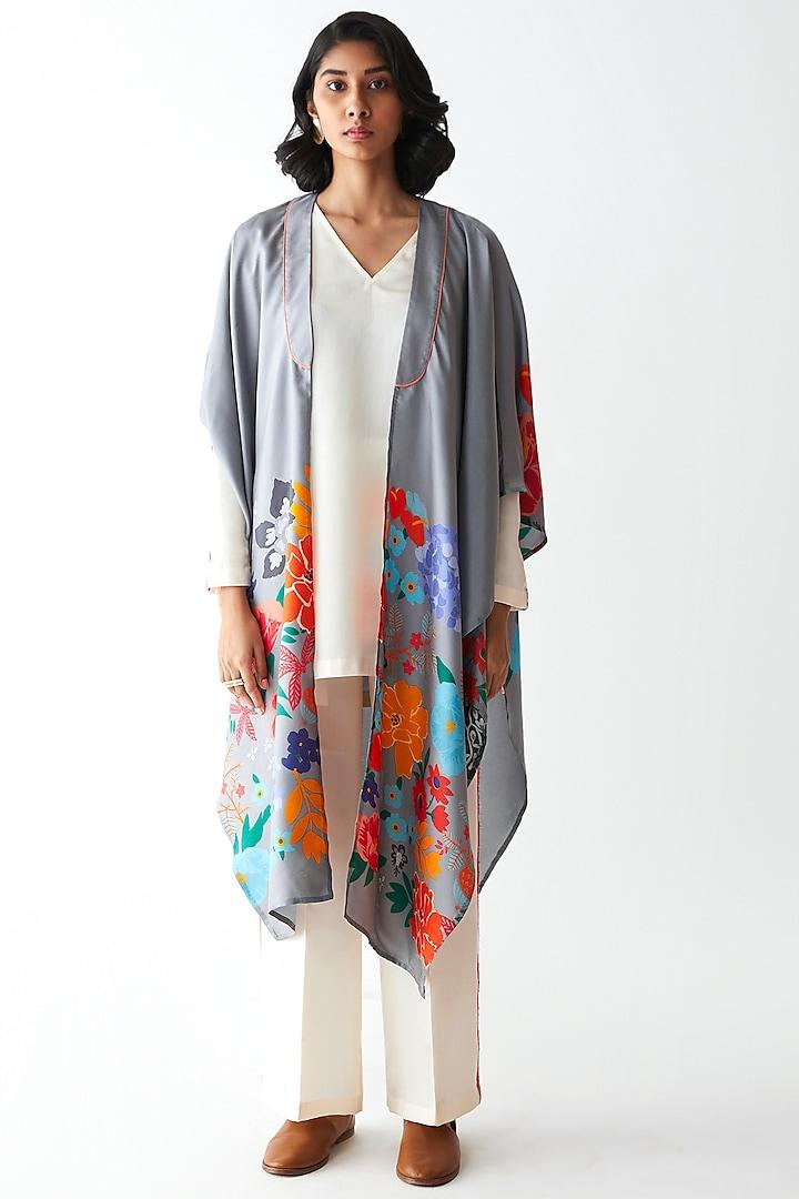 Grey Printed Dupatta Jacket by Kshitij Jalori
