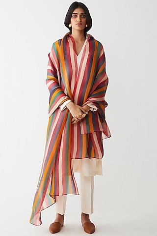 Multi Colored Stripes Printed Dupatta by Kshitij Jalori