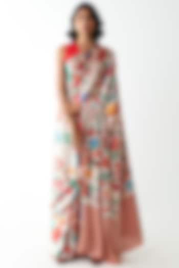 Ivory Floral Printed & Striped Saree by Kshitij Jalori