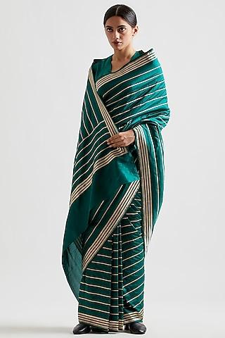 Emerald Green Striped Saree by Kshitij Jalori