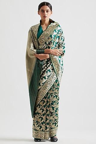 Emerald Green Silk Saree by Kshitij Jalori