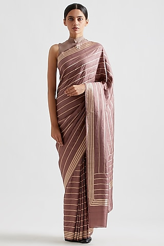 Pale Wine Striped Saree by Kshitij Jalori