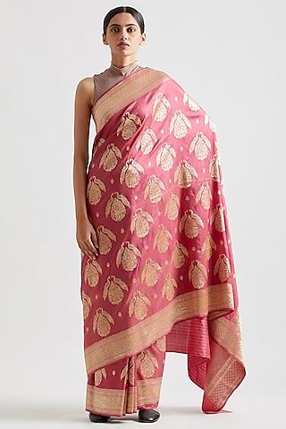 Old Rose Saree In Silk by Kshitij Jalori