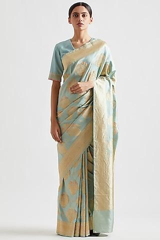 Mint Saree In Silk by Kshitij Jalori