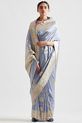 Wedgewood Blue Silk Saree by Kshitij Jalori