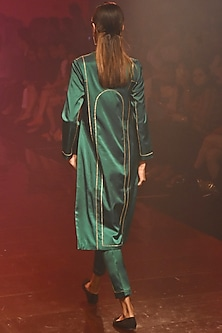 Green Kurta With Pants by Kshitij Jalori