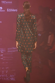 Green Printed Suit With Pants by Kshitij Jalori