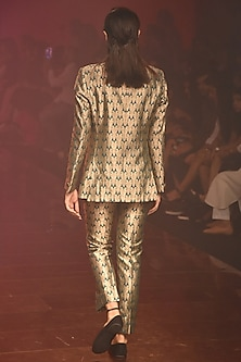 Emerald Green Brocade Suit With Pants by Kshitij Jalori