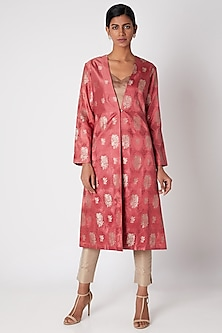 Old Rose Red Silk Jacket by Kshitij Jalori