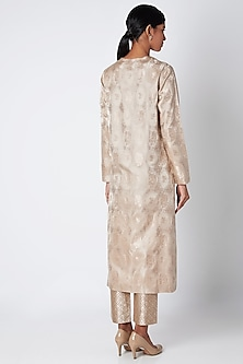 Earth Grey Silk Kurta by Kshitij Jalori