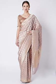 Pale Lilac Embroidered Saree by Kshitij Jalori